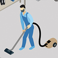 Janitor cleaning the floor in a common area
