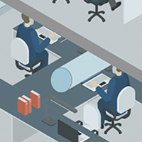 Workers at desks sit at least six feet apart