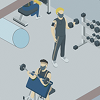 People exercising in the building gym