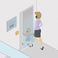 Illustration of sensor activated at elevator at which mother and her child walk into