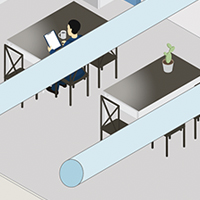 Antimicrobial film on table surfaces in cafeteria